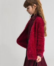 Maxi cardigan in filato effetto pelliccia Rosso Ruby Wine Bambina 192GJ3060-02