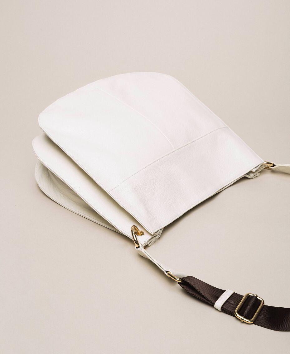 Hobo-Bag aus Leder mit Herz Weiß Schnee Frau 201TA7050-03