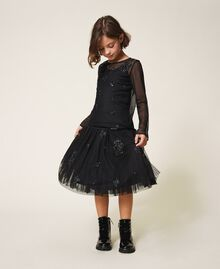 Tulle blouse with embroidery Black Child 202GJ2611-01