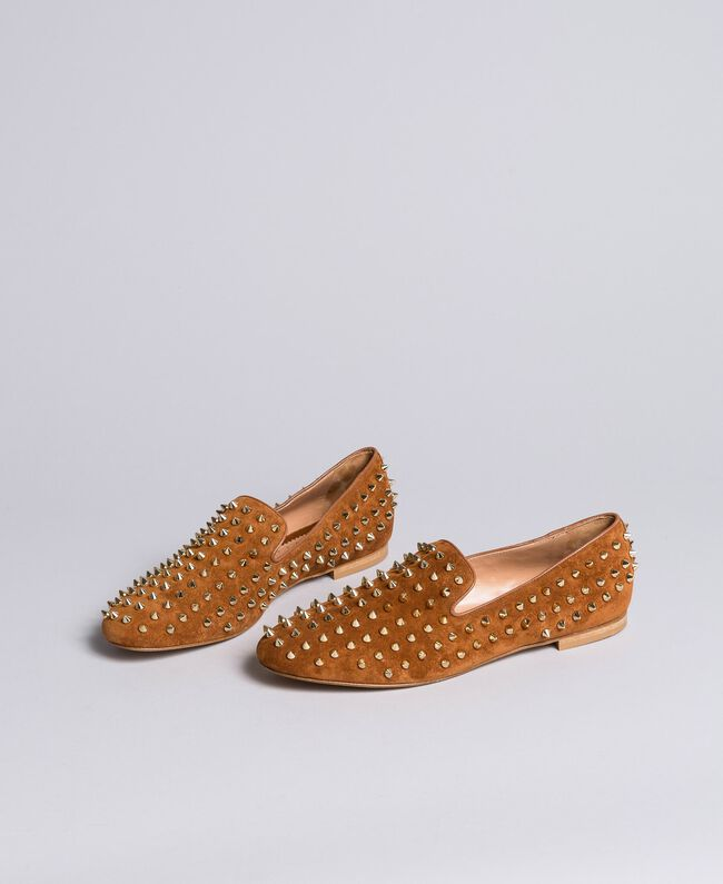 Suede studded slippers Reddish Brown Woman CA8TFJ-03