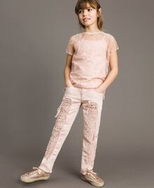 Skinny bull trousers with ripped details Blossom Pink Child 191GJ2061-02