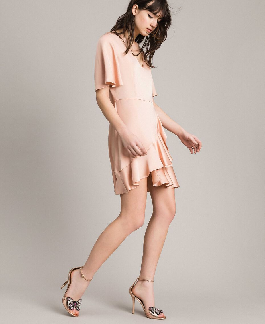 "Flounce and ruffle dress ""Nude"" Beige Woman 191TP2697-02"
