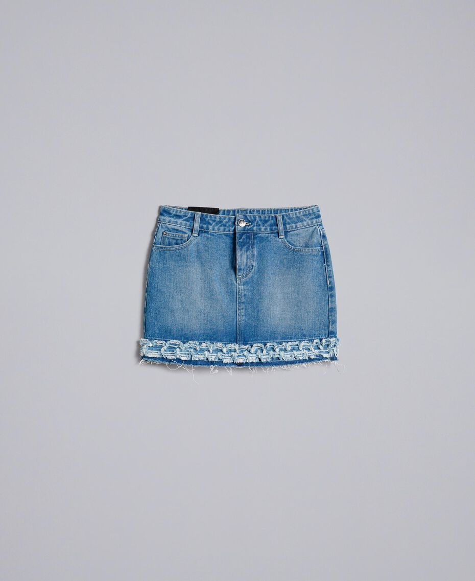 Mini-jupe en denim Bleu Denim Femme JA82Y1-0S