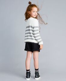 "Cardigan in misto lana a righe Bicolor Off White / Grigio ""Grey Stone"" Bambina GA83E2-03"