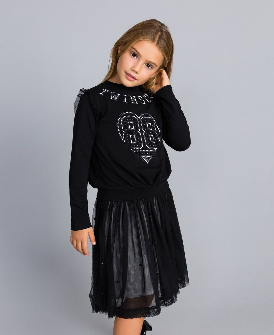 Jersey sweatshirt with pearls and tulle Black Child GA82U2-0S