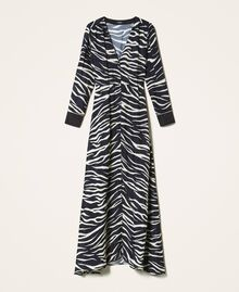 Animal print crêpe de Chine dress Black / Cream White Zebra Print Woman 202MP2430-0S