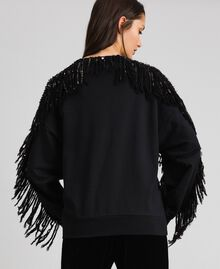 Oversize sweatshirt with sequin embroidery and fringes Black / Dark Gold Sequins Woman 192TT2481-04