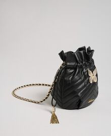 Small quilted leather bucket bag Black Woman 192TA7105-01