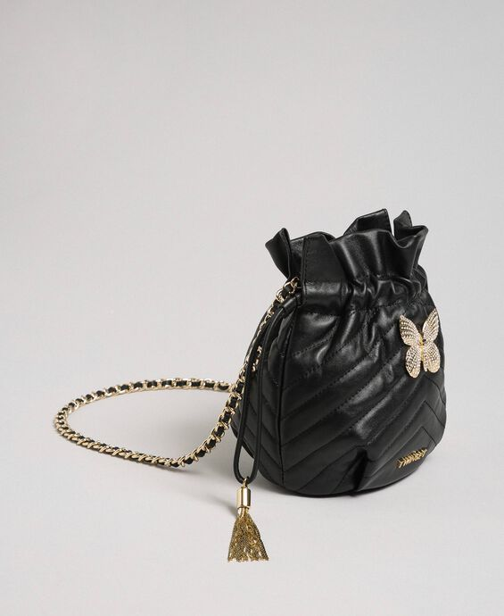Small quilted leather bucket bag