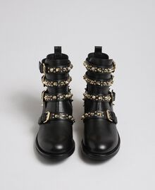 Leather biker boots with straps and studs Black Woman 192TCP01U-04