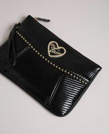 Faux leather clutch bag with strap Black Woman 192MO8016-01