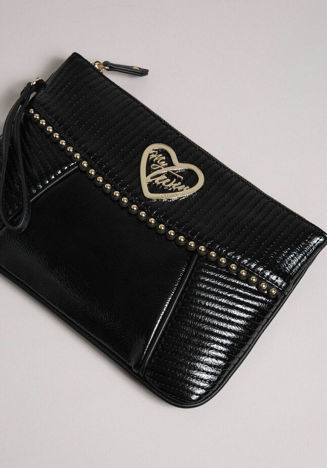 Faux leather clutch bag with strap