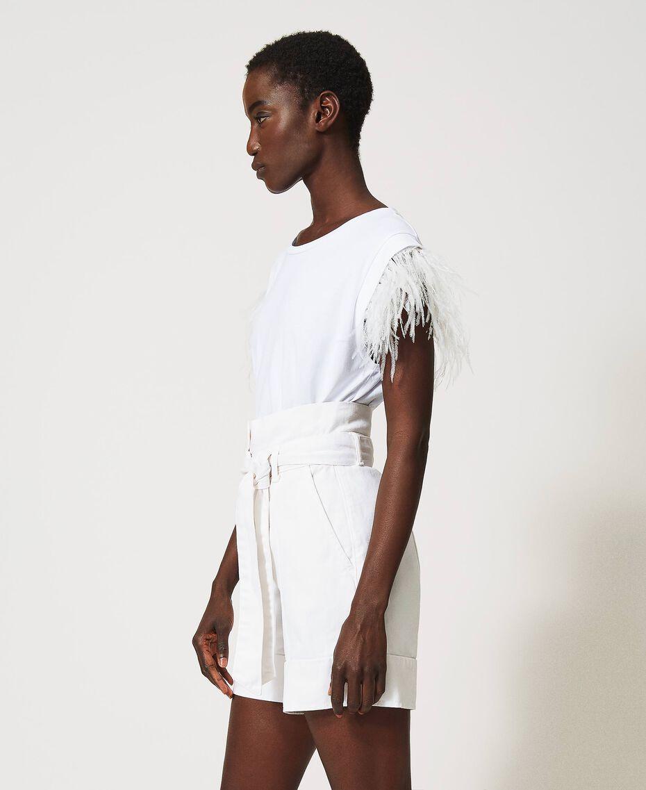 T-Shirt mit Federn Weiß Frau 211TT2420-02