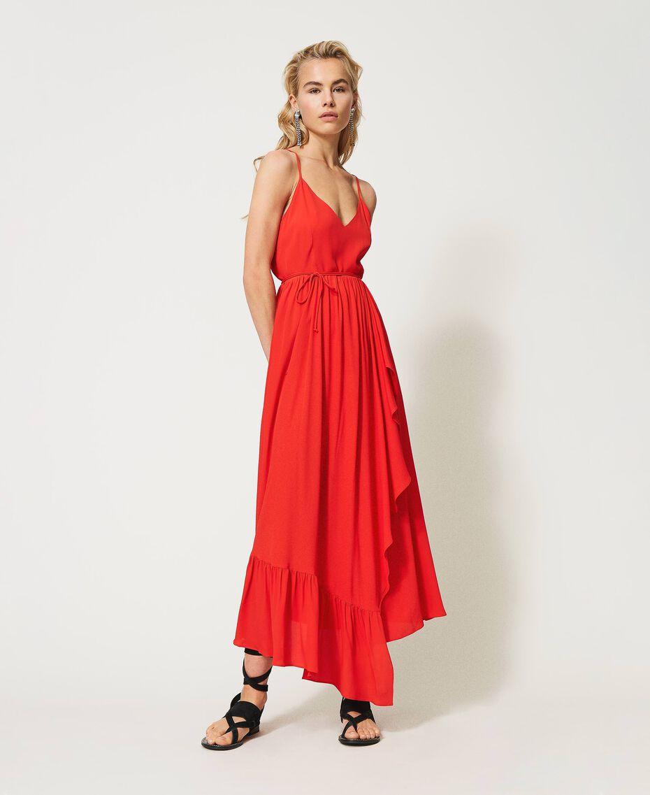 """Long silk blend dress """"Coral"""" Red Woman 211TT2142-01"""