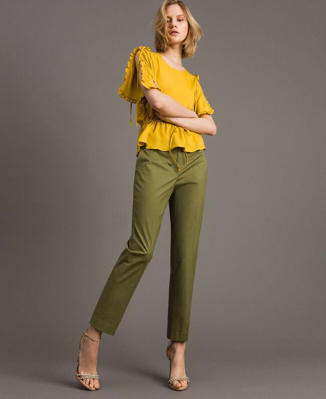 "Poplin drainpipe trousers ""Olive"" Green Woman 191TT2231-01"