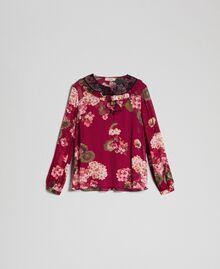 Floral print creponne blouse Beet Red Geranium Print Woman 192TP2724-0S