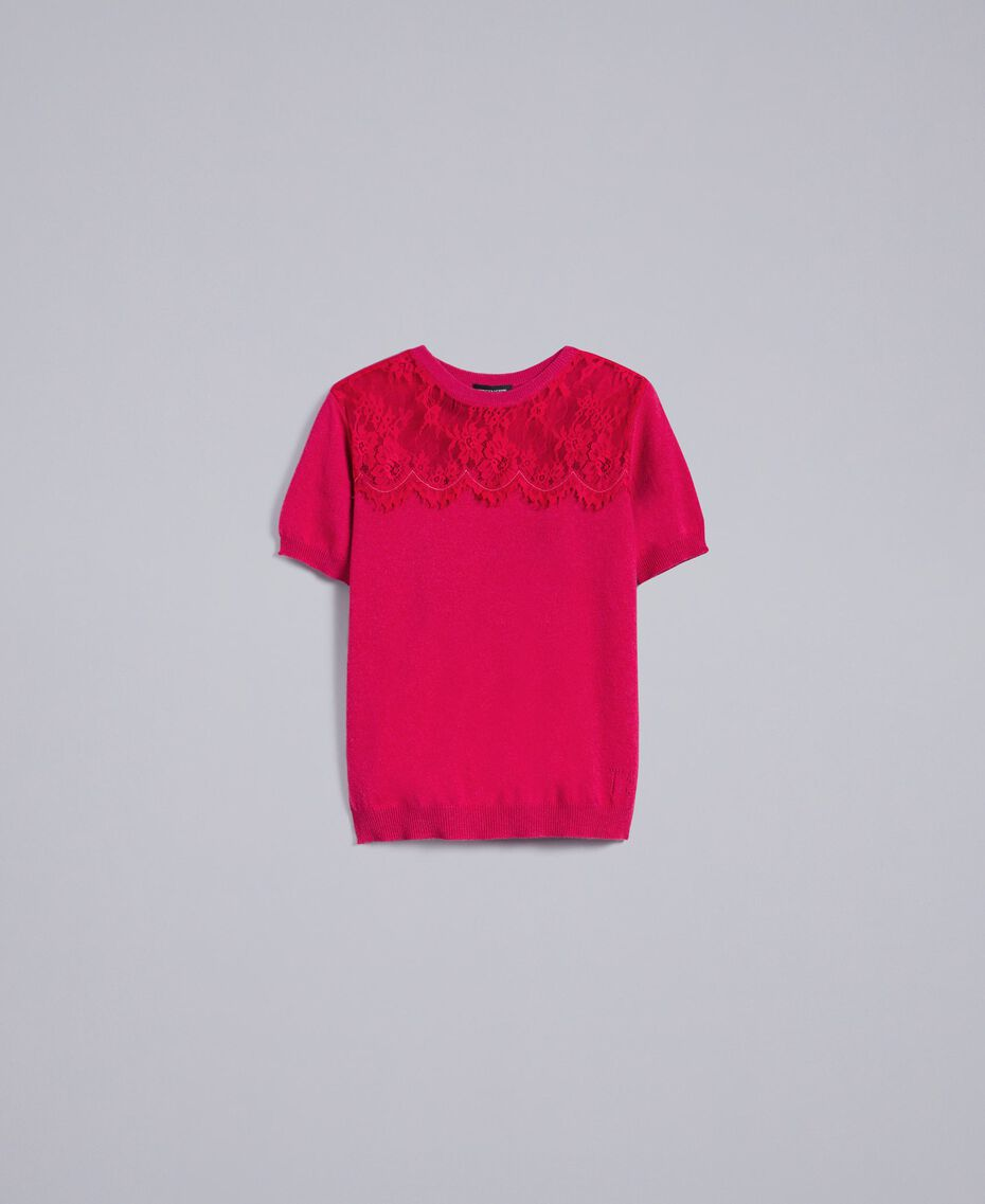 "Wool and cashmere jumper with lace ""Azalea"" Fuchsia Woman TA83AK-0S"