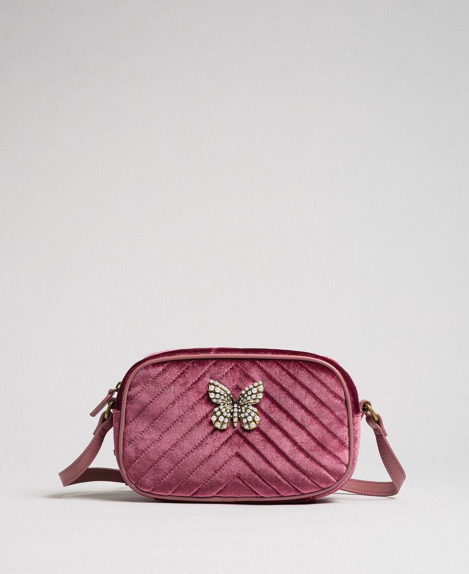 Velvet shoulder bag with butterfly Dusty Pink Woman 192TA7091-02