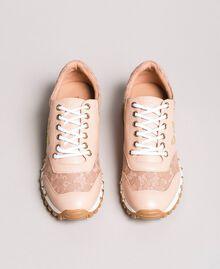 Sneakers aus Spitze und Wildleder Perlrosa Frau 191TCP026-05