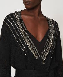 Crochet cardigan with embroidery Black Woman 211TT3101-04