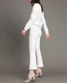"Milan stitch  flared trousers ""Silk"" White Woman 191TP2424-03"