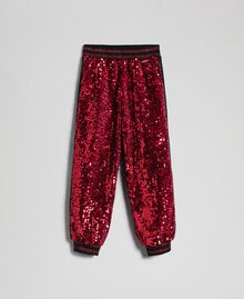 Pantalon de jogging en velours avec sequins Rouge Ruby Wine Enfant 192GJ2092-0S