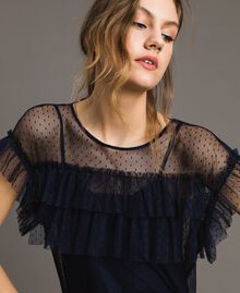 Tulle blouse with slip top Blue Shadow Woman 191ST2070-04