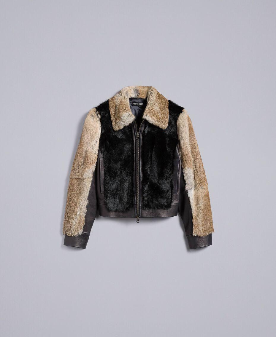 Zweifarbige Jacke aus Leder und Fell Schwarz Frau TA82AC-0S