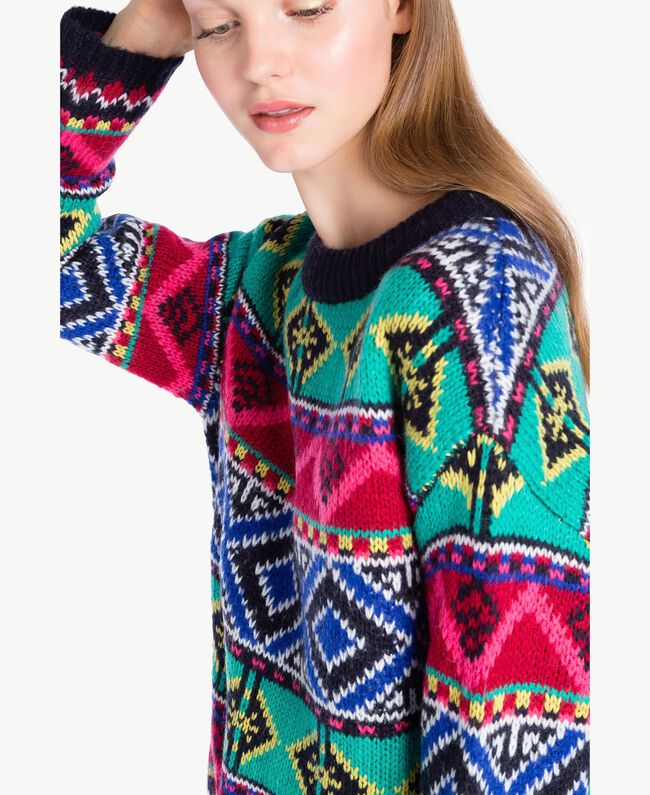 Oversized jacquard jumper Multicolour Cherry Red / Black YA73AB-04