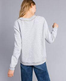 Printed cotton sweatshirt Melange Grey Woman TA82ZB-03
