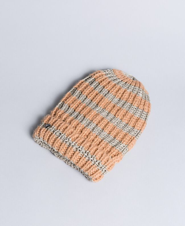 """Knitted hat with lurex """"Nude"""" Pink / Pink Gold Stripe Woman VA8P2C-01"""
