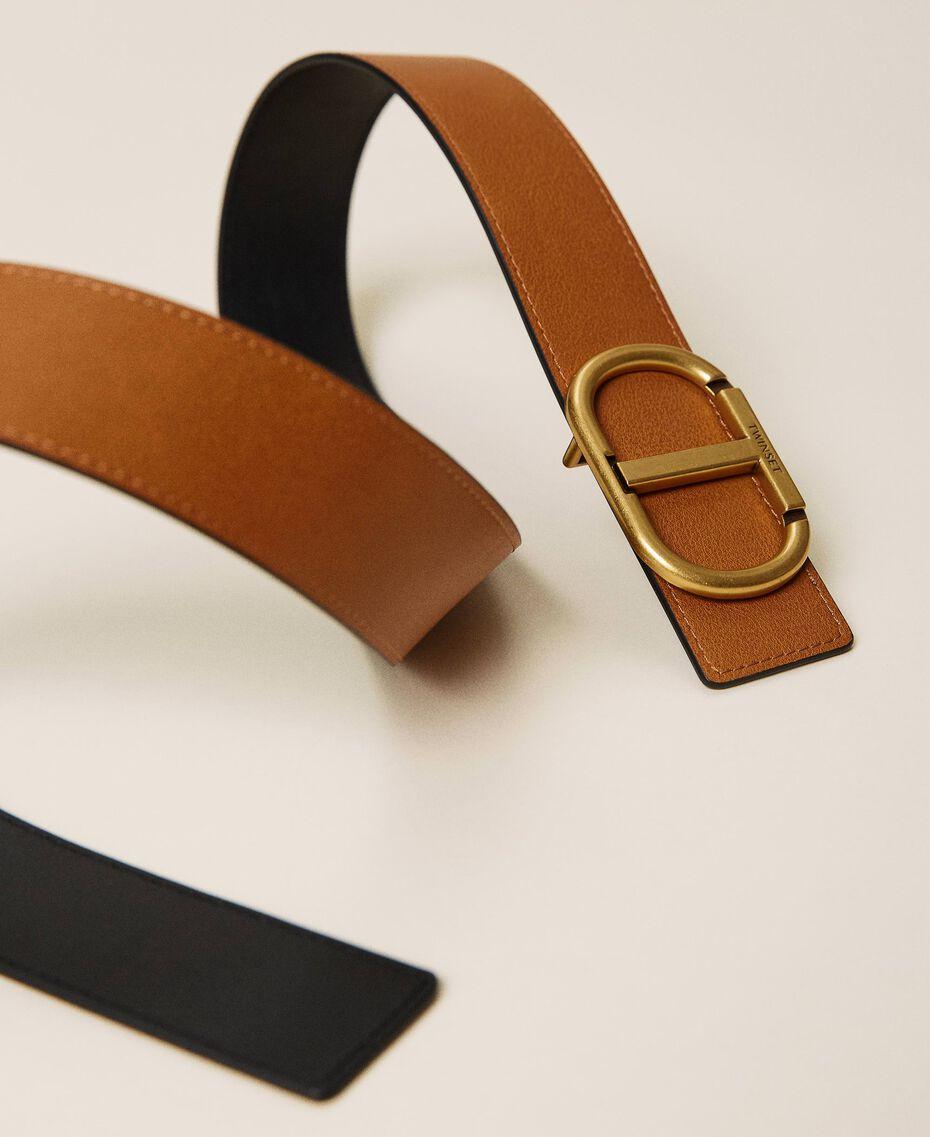 Cinturón reversible de piel con logotipo Bicolor Marrón «Cuero» / Negro Mujer 212TA4116-03