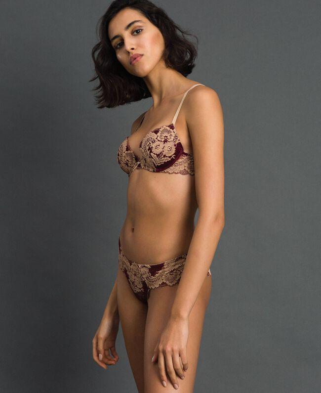 Two-tone lace Brazilian briefs Purple Red / Warm Beige Woman 192LL6D77-01