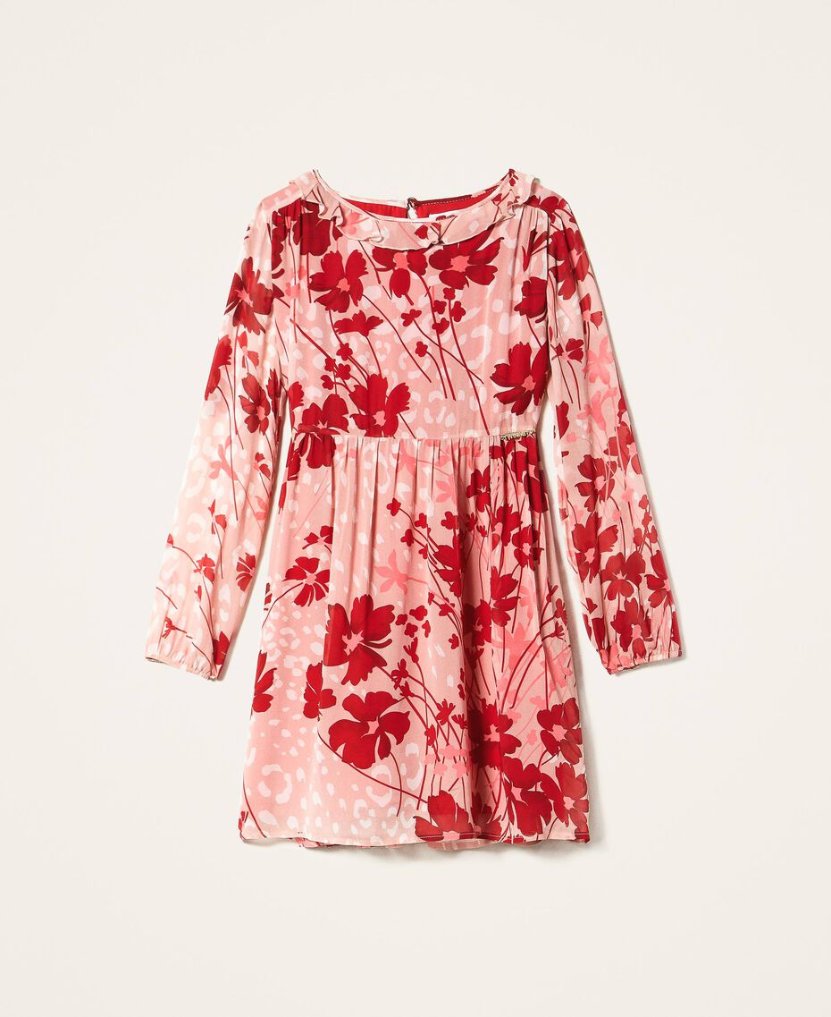 """Floral georgette dress Peach / """"Cherry"""" Red Flowers Animal Print Child 202GJ262A-0S"""