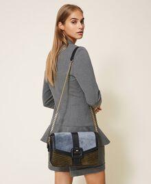 """Grand sac à bandoulière Rebel en cuir lisse et cuir velours Multicolore Bleu Ciel Cendre / Vert """"Vert Olive"""" Femme 202TB7052-0S"""