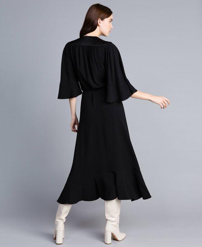 Envers satin mid-length dress Black Woman TA824B-04