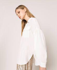 Рубашка из смесового шелка на декоративной шнуровке Белый Снег женщина 201TP2508-06