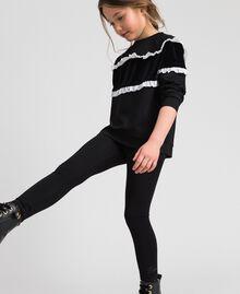 Leggings in jersey con pizzo Nero Bambina GCN2F4-02
