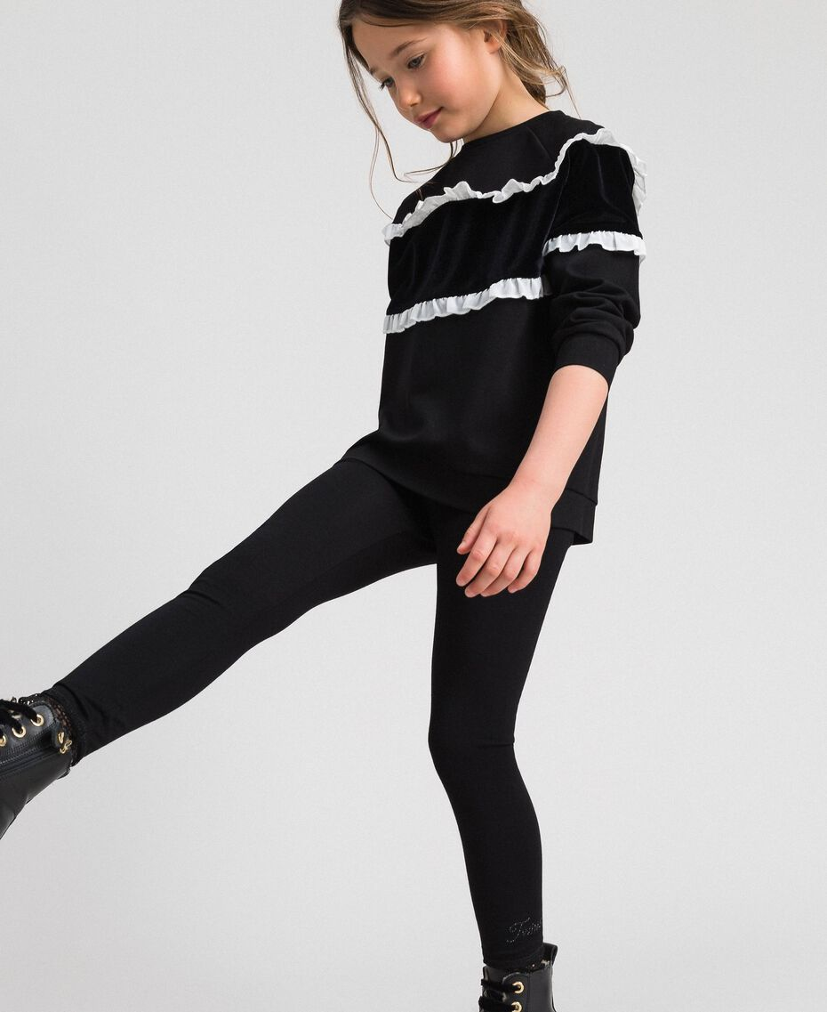 Jersey leggings with lace Black Child GCN2F4-02