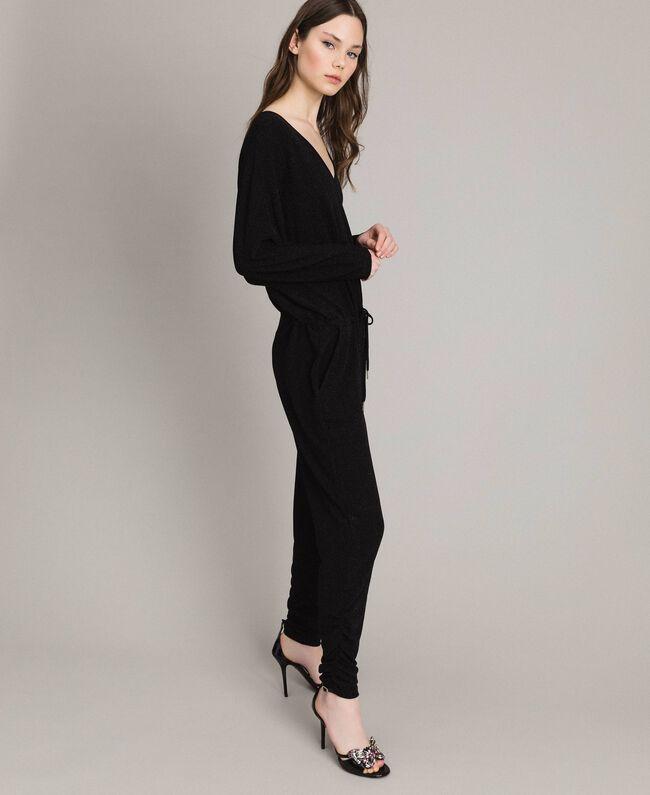 Combinaison en lurex avec manches kimono Noir Femme 191MP2020-01