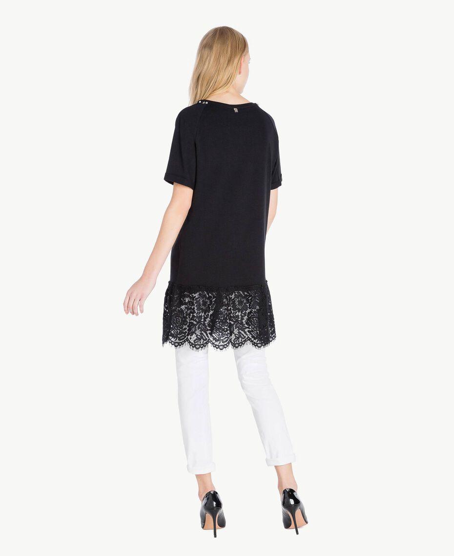 Maxi-T-Shirt mit Spitze Schwarz Frau JS82RT-03