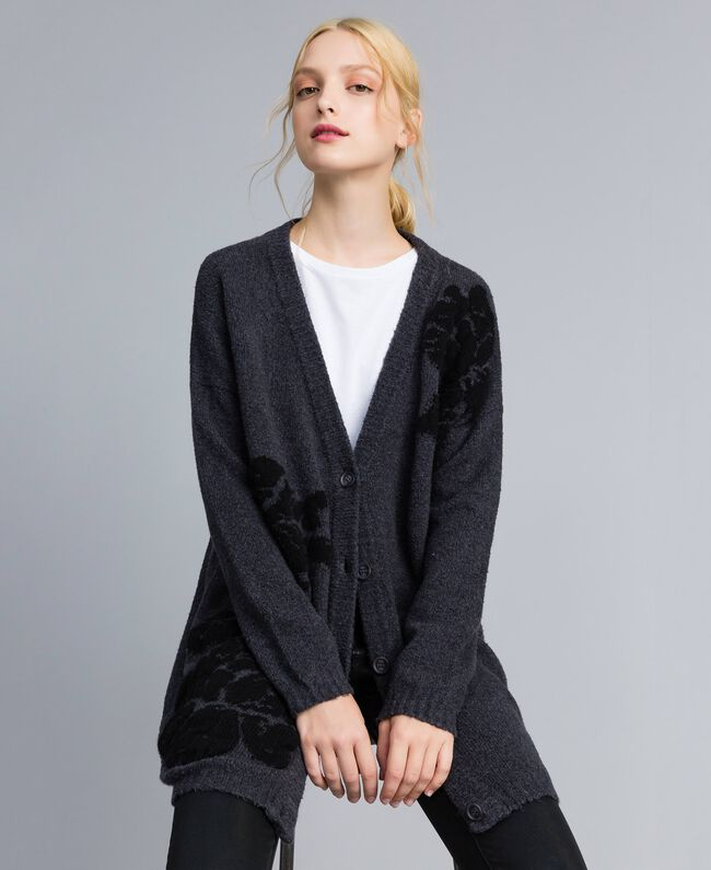 Maxi cardigan with floral inlay Bicolour Anthracite Grey Black Flower Woman TA8391-01