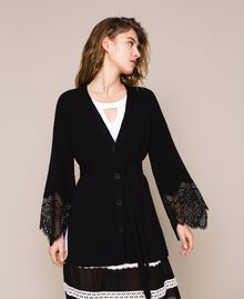 Maxi cardigan côtelé avec dentelle Noir Femme 201TP3121-02