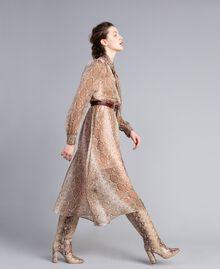 Vestido largo de gasa de seda con estampado de leopardo Estampado Camel Snake Mujer PA827B-02