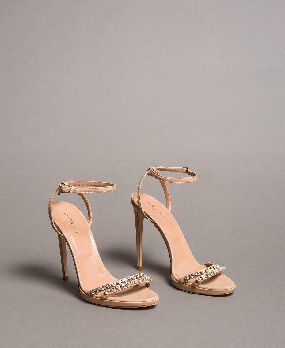 Leder-Sandalen mit Strasssteinen Nudebeige Frau 191TCT012-02