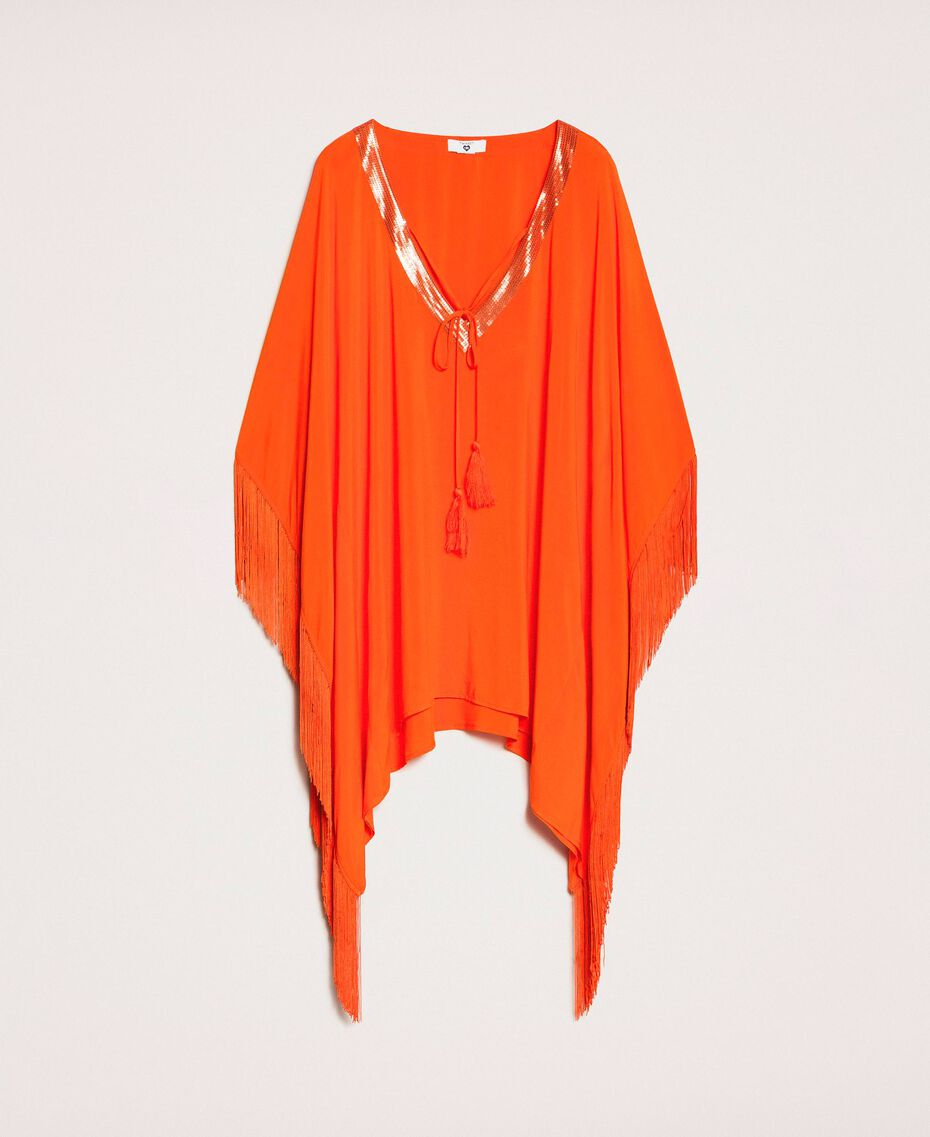 "Kimono-style kaftan with fringes ""Ace"" Orange Woman 201LB2CLL-0S"