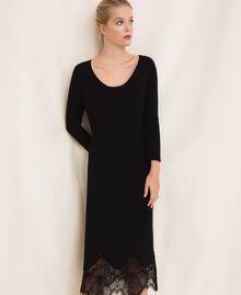 Robe fourreau côtelée avec dentelle Noir Femme 201TP3120-05