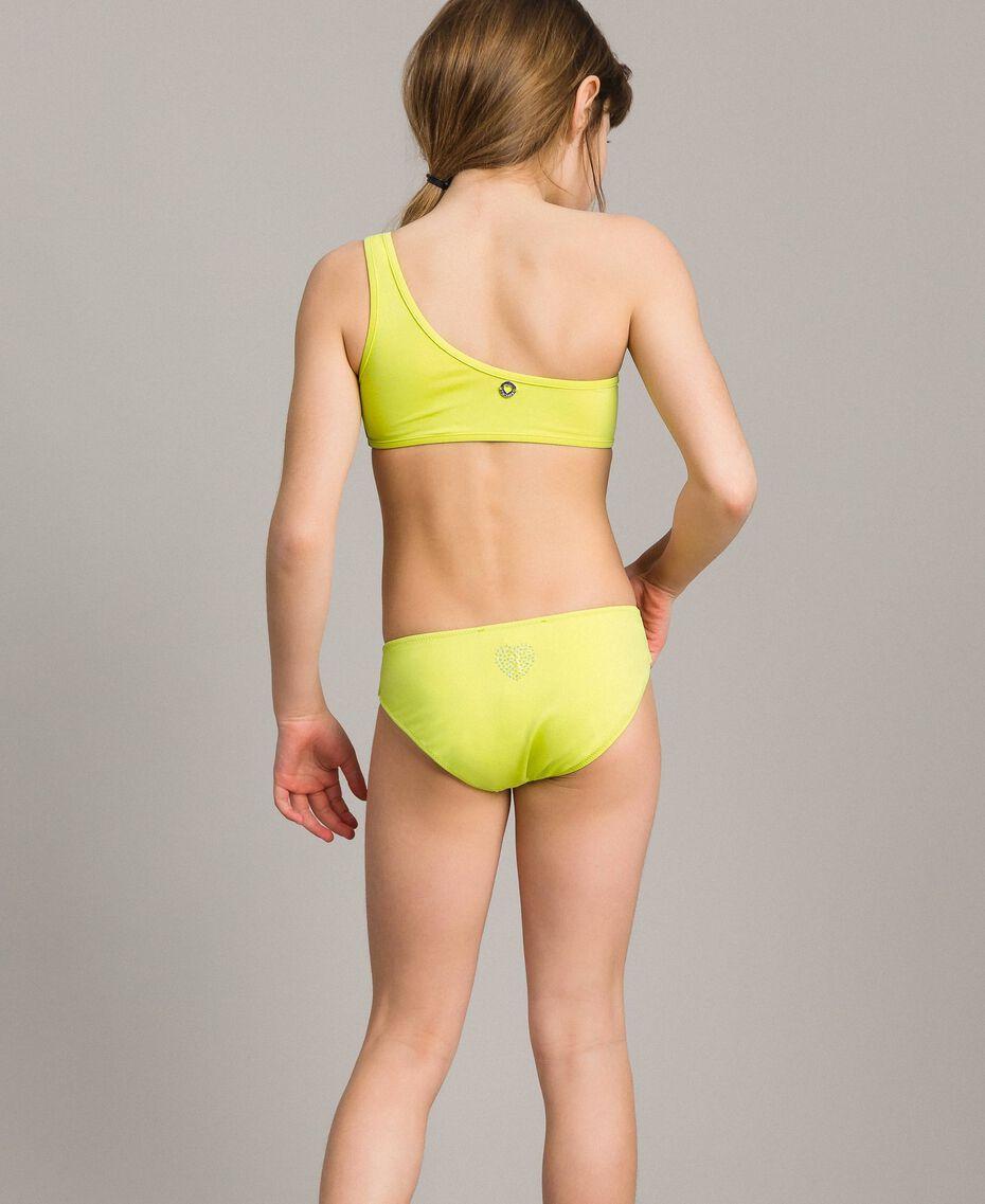 """Bikini épaule dénudée avec strass Jaune """"Bambou"""" Enfant 191GJM905-02"""