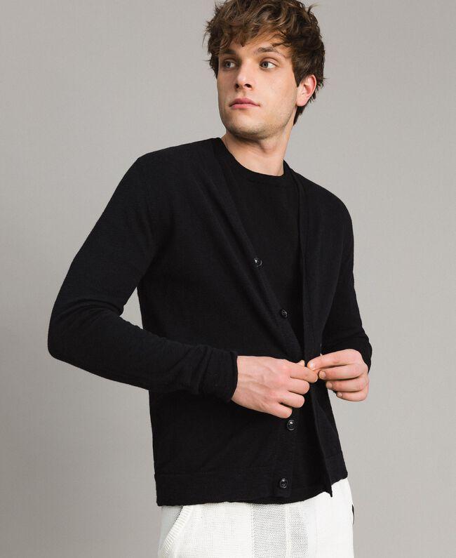 Cardigan aus Slub-Baumwollmischung Schwarz Mann 191UT3070-01