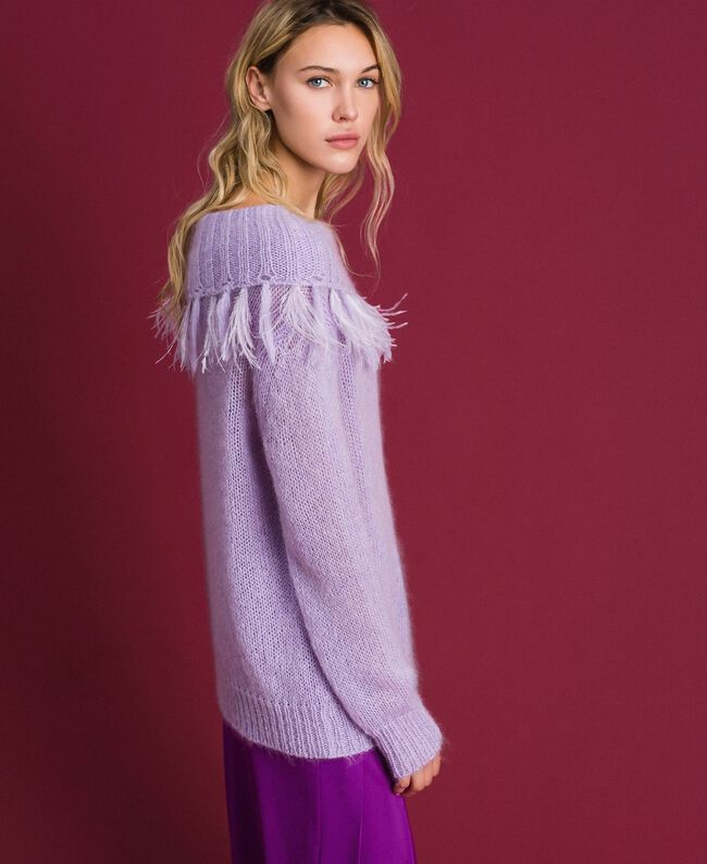 "Mohair jumper with feathers and fringes ""Pink Lavender"" Woman 192TT3276-03"